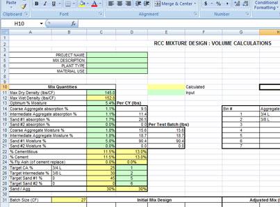 Mix Design Spreadsheet